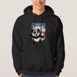 Men's Basic Hooded Sweatshirt with Canada Volleyball Panda design