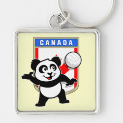Premium Square Keychain with Canada Volleyball Panda design