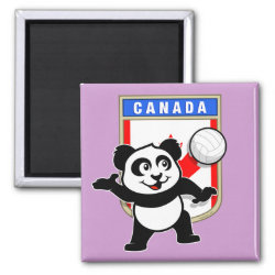 Square Magnet with Canada Volleyball Panda design