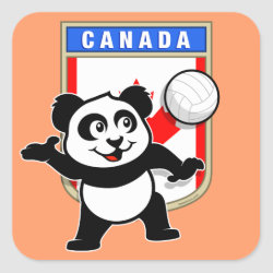 Square Sticker with Canada Volleyball Panda design