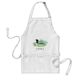 Canada Watercolor Common Loon Bird Adult Apron