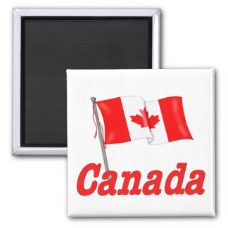 Canada Waving Flag 2 Inch Square Magnet