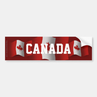 Canada Waving Flag Car Bumper Sticker