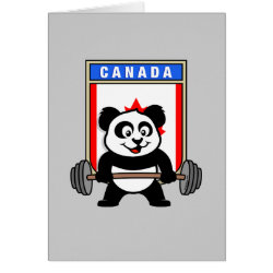Greeting Card with Canadian Weightlifting Panda design