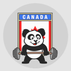 Round Sticker with Canadian Weightlifting Panda design