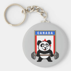 Basic Button Keychain with Canadian Weightlifting Panda design