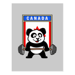 Postcard with Canadian Weightlifting Panda design