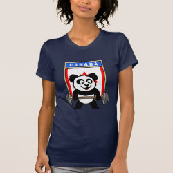 Women's American Apparel Fine Jersey Short Sleeve T-Shirt with Canadian Weightlifting Panda design