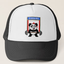 Trucker Hat with Canadian Weightlifting Panda design