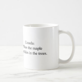 Canada: Where maple syrup hides in trees Classic White Coffee Mug