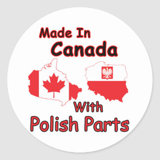 Canada With Polish Parts Classic Round Sticker