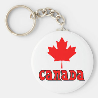 CANADA with red Maple Leaf Basic Round Button Keychain