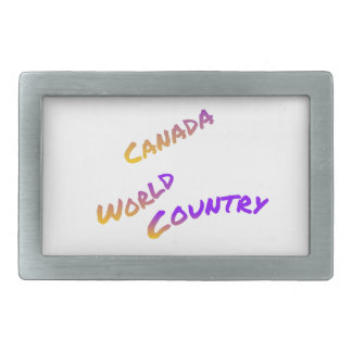 Canada world country, colorful text art belt buckle