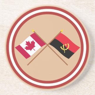 Canadá y banderas cruzadas Angola Posavasos Cerveza