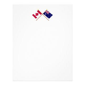 Canadá y banderas cruzadas Australia Plantilla De Membrete
