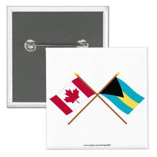 Canadá y banderas cruzadas Bahamas Pins