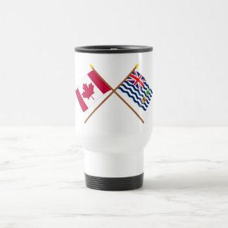 Canadá y banderas cruzadas BIOT Taza Térmica