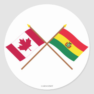 Canadá y banderas cruzadas Bolivia Pegatinas Redondas