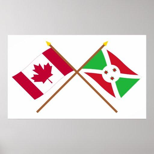 Canadá y banderas cruzadas Burundi Posters