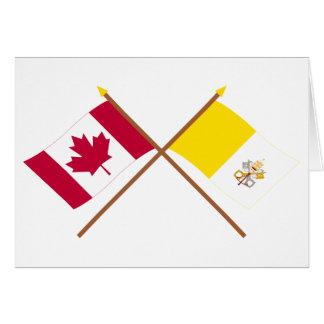 Canadá y banderas cruzadas Ciudad del Vaticano Tarjeta