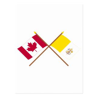 Canadá y banderas cruzadas Ciudad del Vaticano Tarjeta Postal