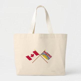 Canadá y banderas cruzadas Columbia Británica Bolsa Tela Grande