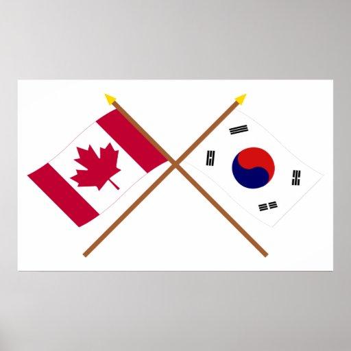 Canadá y banderas cruzadas Corea del Sur Impresiones