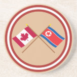 Canadá y banderas cruzadas de Corea del Norte Posavasos Diseño
