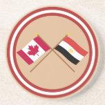 Canadá y banderas cruzadas Egipto Posavasos Para Bebidas