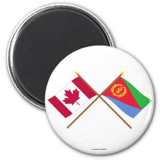 Canadá y banderas cruzadas Eritrea Imán Redondo 5 Cm