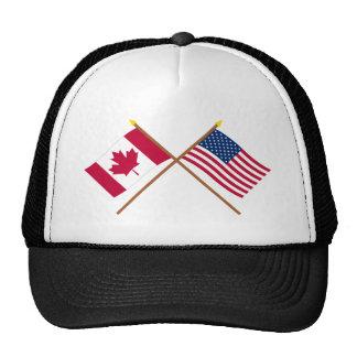Canadá y banderas cruzadas Estados Unidos Gorros