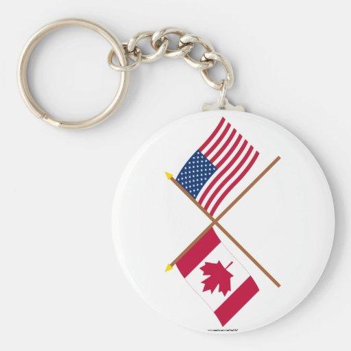 Canadá y banderas cruzadas Estados Unidos Llavero Redondo Tipo Pin