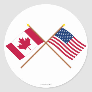 Canadá y banderas cruzadas Estados Unidos Pegatina Redonda