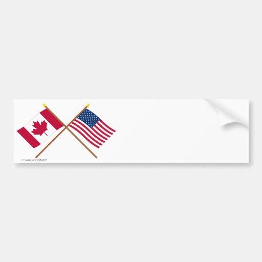 Canadá y banderas cruzadas Estados Unidos Pegatina Para Auto