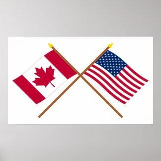 Canadá y banderas cruzadas Estados Unidos Póster