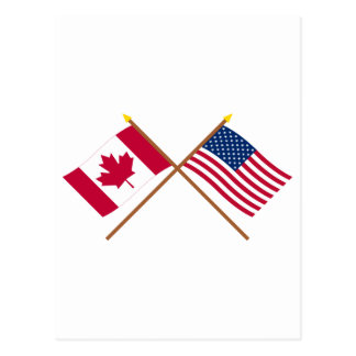 Canadá y banderas cruzadas Estados Unidos Tarjetas Postales