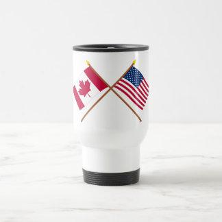 Canadá y banderas cruzadas Estados Unidos Taza Térmica