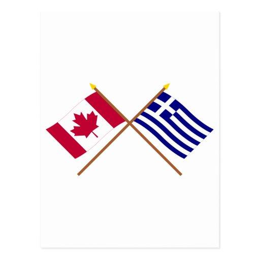 Canadá y banderas cruzadas Grecia Postal