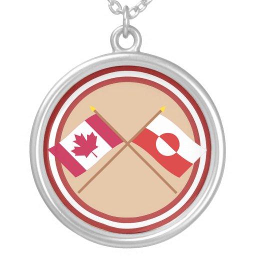 Canadá y banderas cruzadas Groenlandia Colgante Redondo