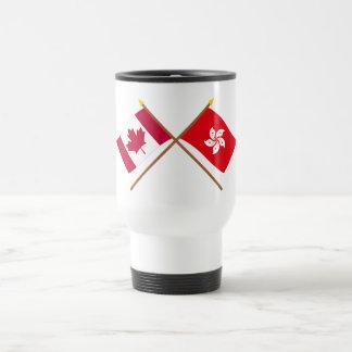 Canadá y banderas cruzadas Hong Kong Tazas De Café