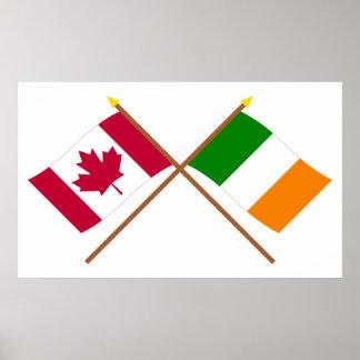 Canadá y banderas cruzadas Irlanda Poster