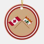 Canadá y banderas cruzadas Isla del Principe Eduar Ornamentos De Reyes