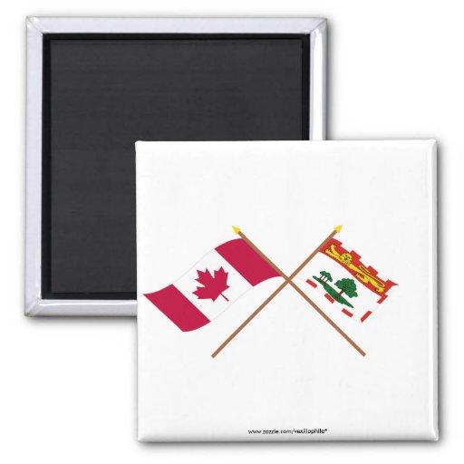 Canadá y banderas cruzadas Isla del Principe Eduar Imán Para Frigorifico