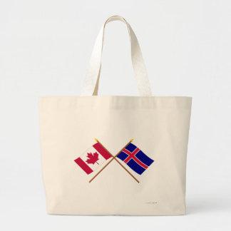 Canadá y banderas cruzadas Islandia Bolsa De Mano