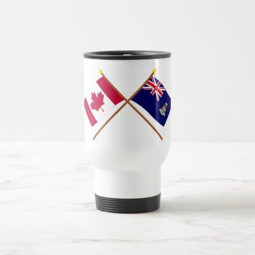 Canadá y banderas cruzadas Islas Caimán Taza De Viaje De Acero Inoxidable