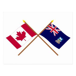 Canadá y banderas cruzadas Islas Malvinas Postal