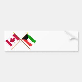 Canadá y banderas cruzadas Kuwait Etiqueta De Parachoque
