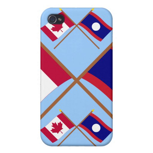 Canadá y banderas cruzadas Laos iPhone 4 Protector