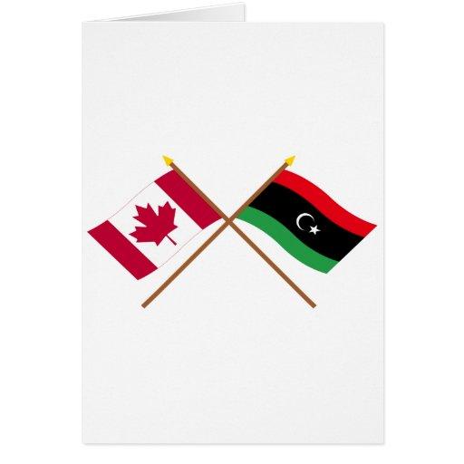 Canadá y banderas cruzadas Libia Tarjeta De Felicitación