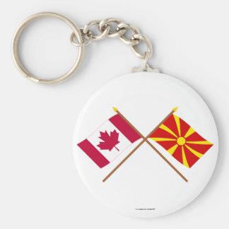 Canadá y banderas cruzadas Macedonia Llaveros